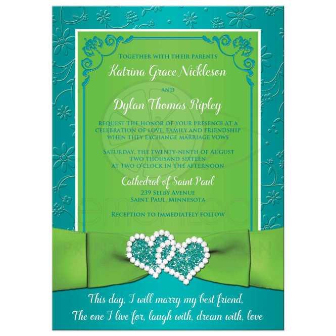 Turquoise Lime Fl Wedding Invitation Printed Ribbon Bow Glitter Jeweled Hearts