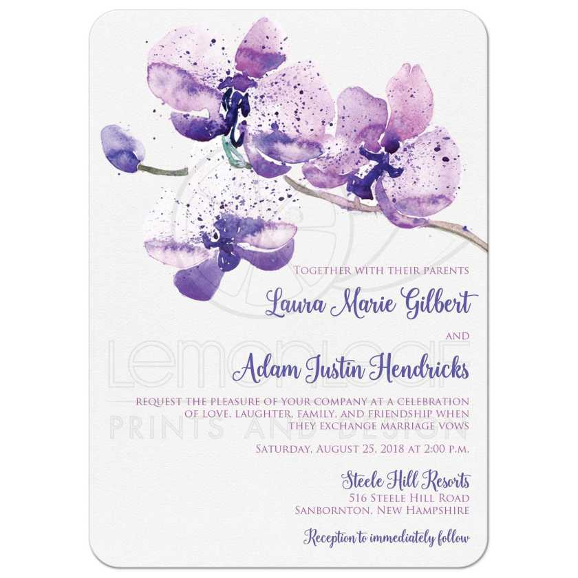 Purple Pink And White Orchid Watercolor Wedding Invitation With Flower Branch