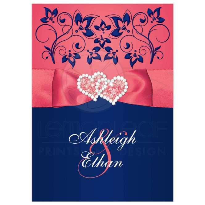 Elegant Wedding Invitations With Navy Blue Stripes
