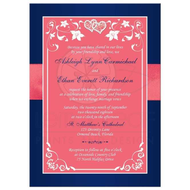 Navy Hot Pink Fl Wedding Invitations Kate Holgate2