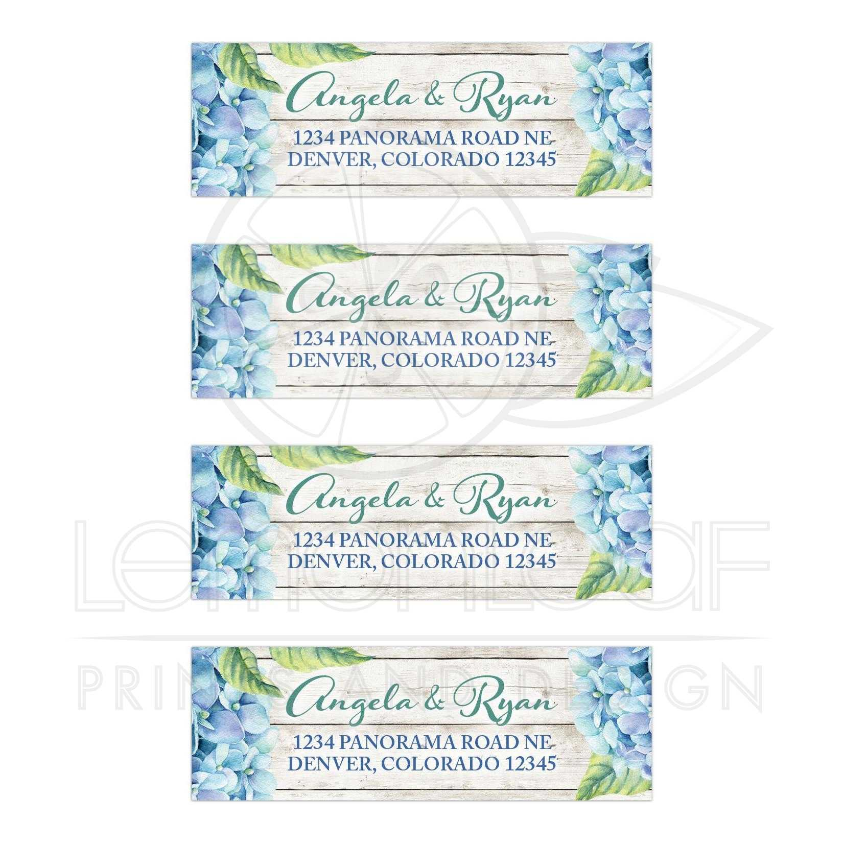 blue hydrangea wedding address