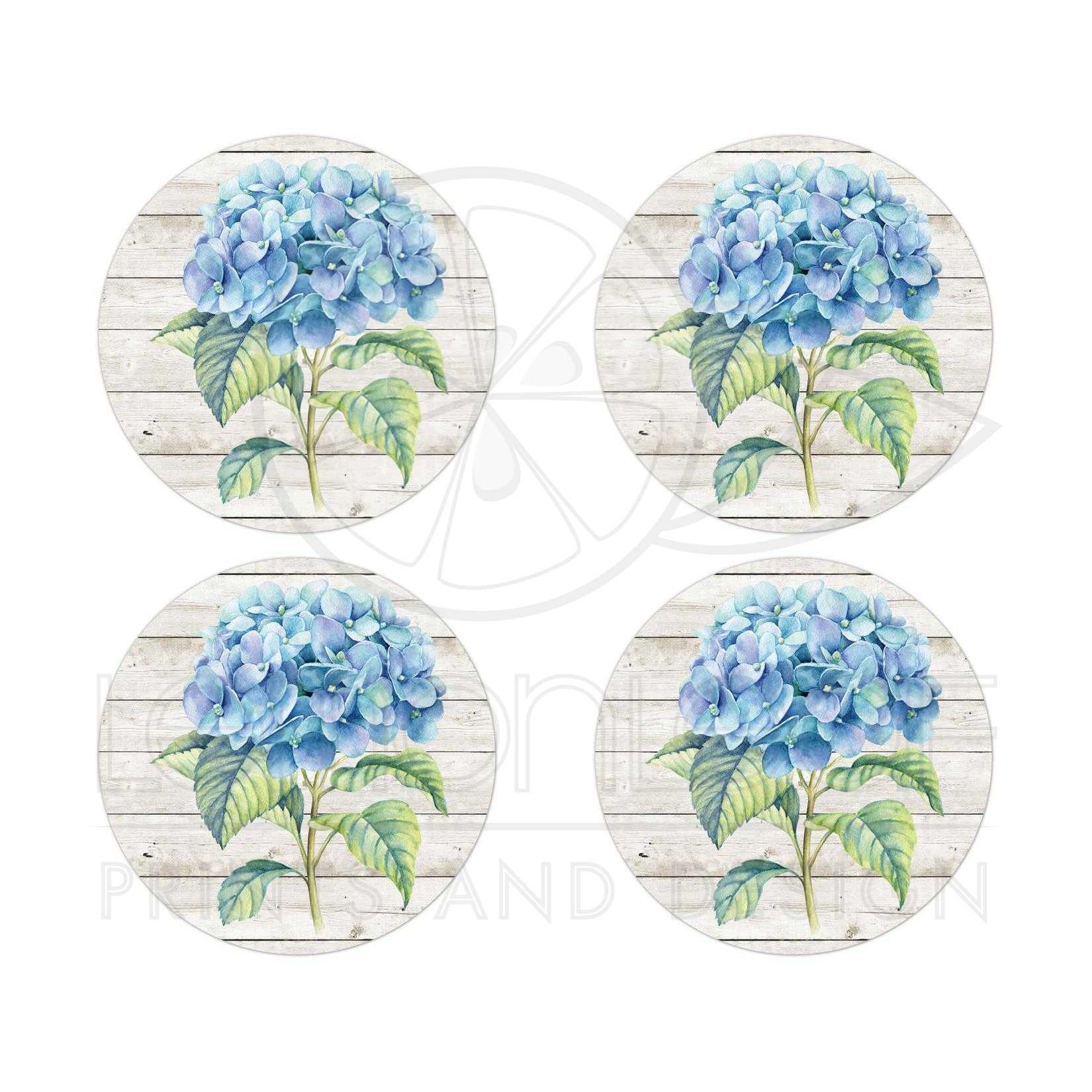 blue hydrangea wedding stickers