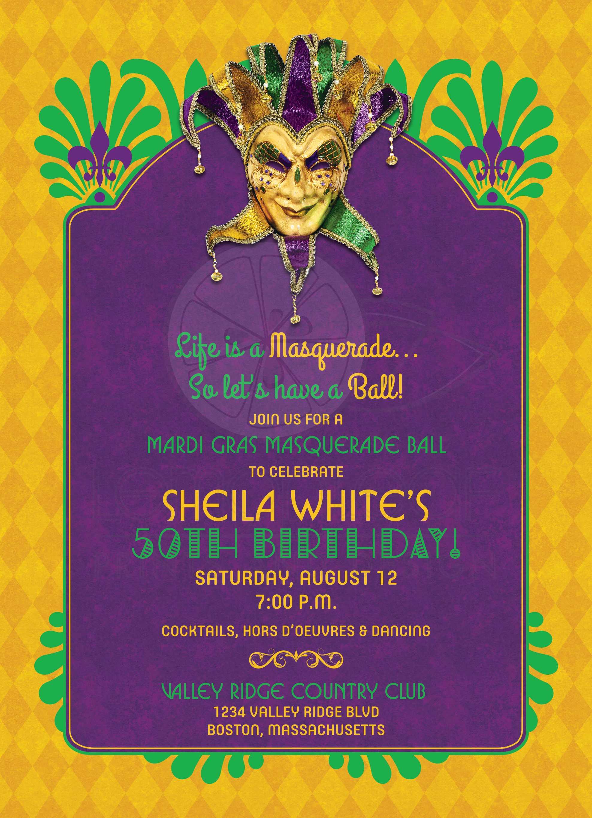 mardi gras birthday party invitation masquerade purple gold green