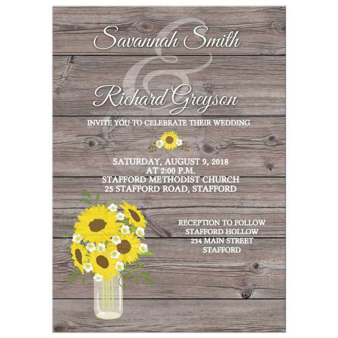 Sunflower In Mason Jar Barn Wood Wedding Invitations