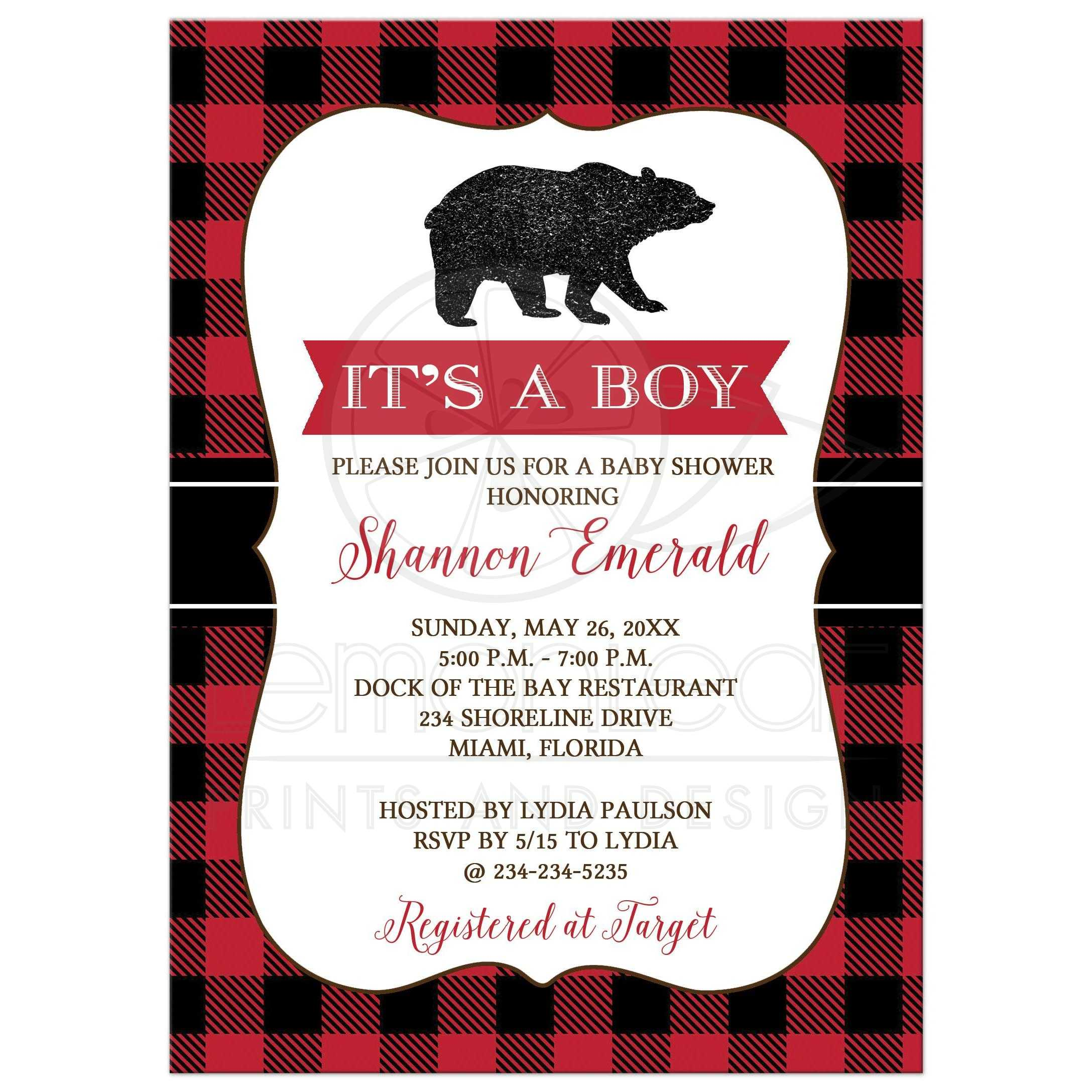 Lumberjack Black Bear Boy Baby Shower Invitation