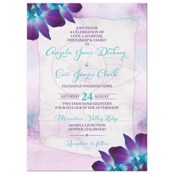 Purple Turquoise Blue Dendrobium Orchid Wedding Invitation