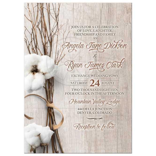 Trendy Rustic Cotton Wedding Invitation