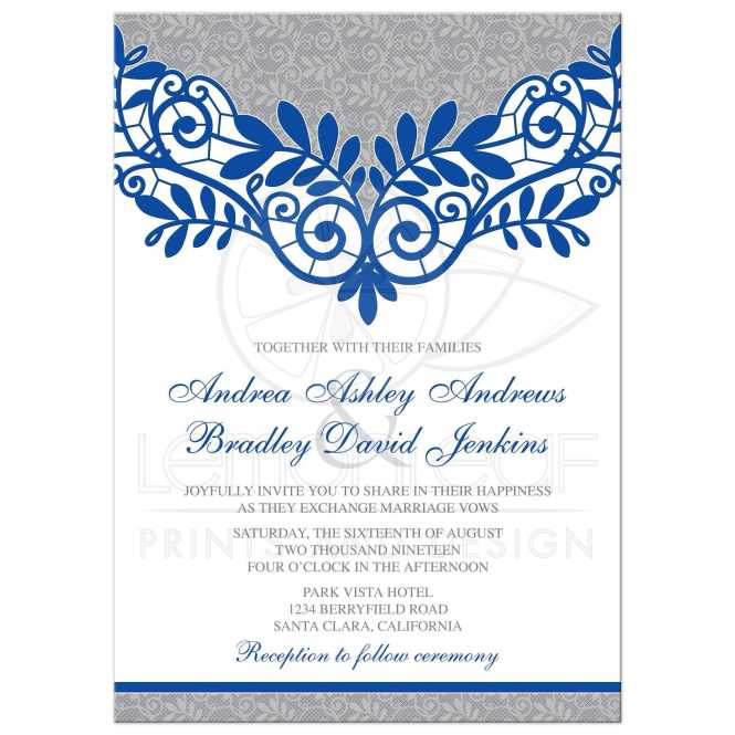 Royal Blue Silver Wedding Invitation Gray Lace