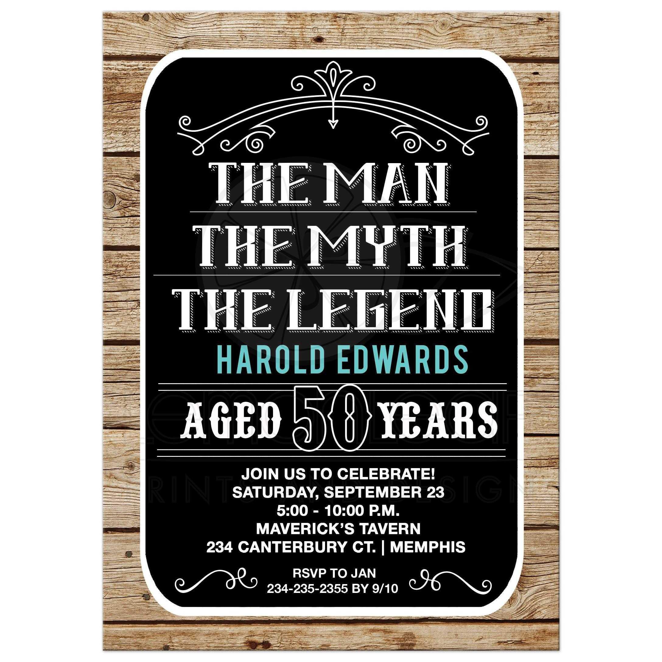 man myth legend 50th birthday invitation 50 year old man birthday invite