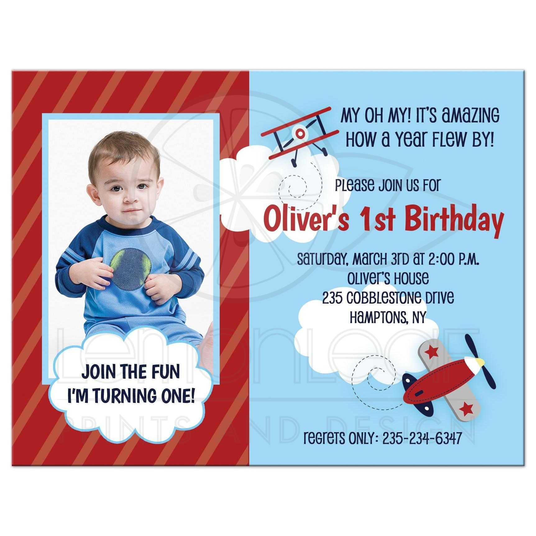 airplane aviator 1st birthday boy invitation