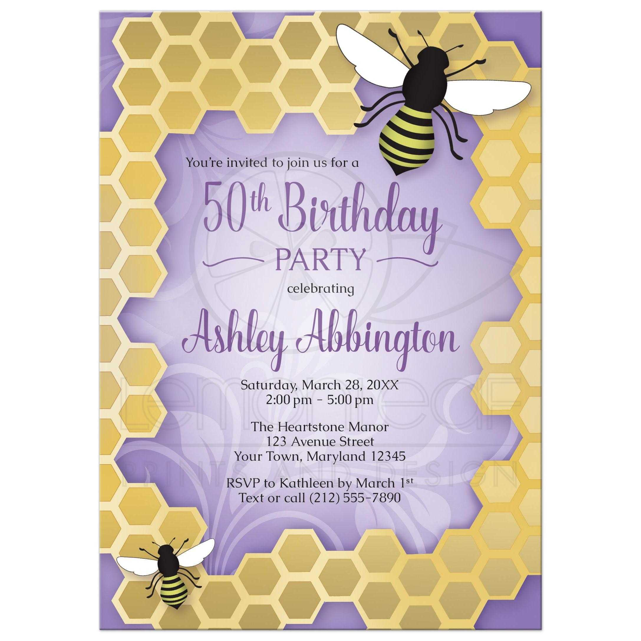 birthday invitations purple honeycomb bee