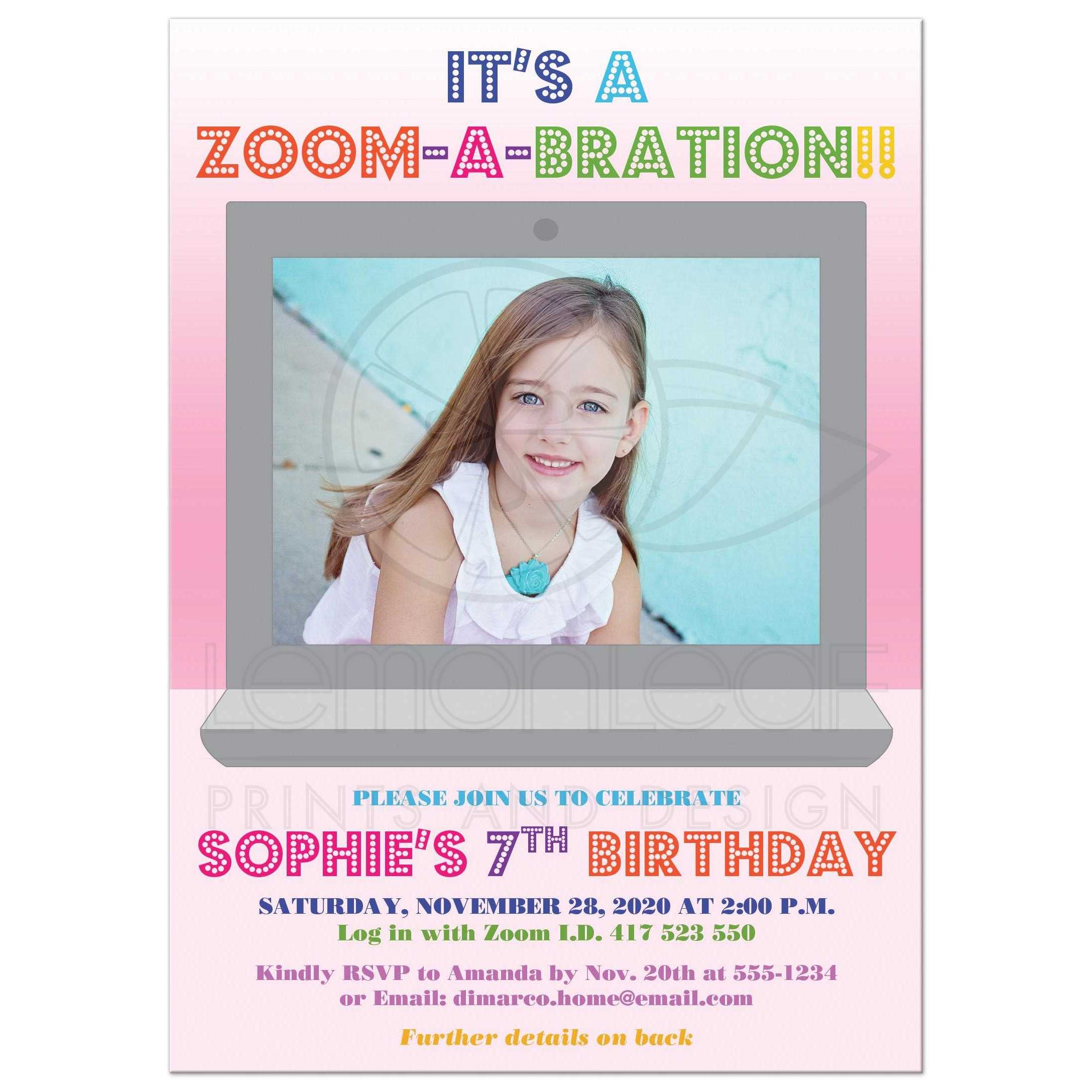 photo template child s virtual birthday zoom a bration invitation