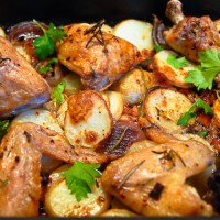 Roasted Chicken with Pancetta and Potatoes