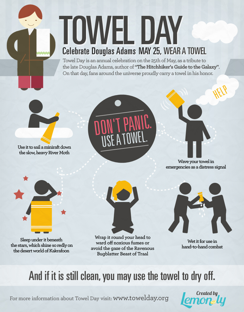 Don't Panic Use A Towel Day Infographic Design by Lemonly