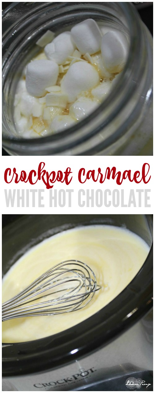 Crockpot Caramel White Hot Chocolate Recipe! Easy Hot Cocoa for Winter or Snow Days! A twist on traditional Hot Chocolate!