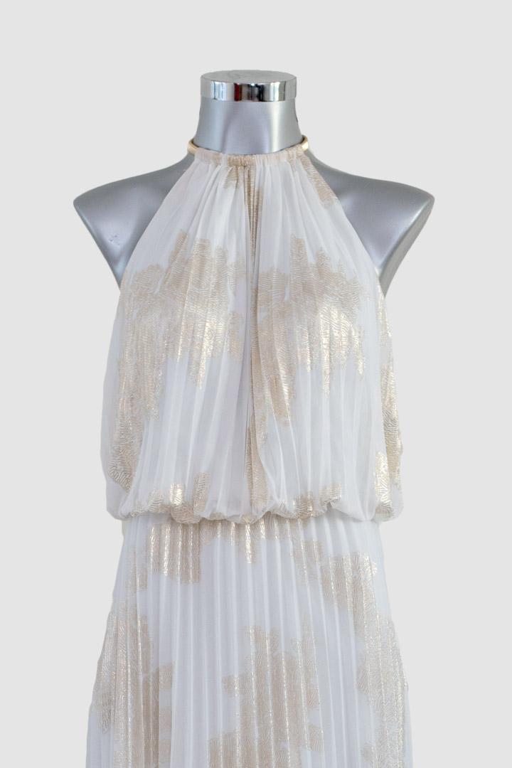 Vestido blanco con dorado largo