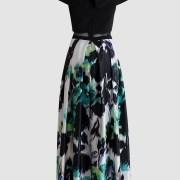 renta-de-vestidos-en-puebla-negro-con-falda-flores-verde-off-shoulder-tras