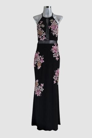 renta-de-vestidos-en-puebla-negro-con-flores-rosas-transparencias-frente