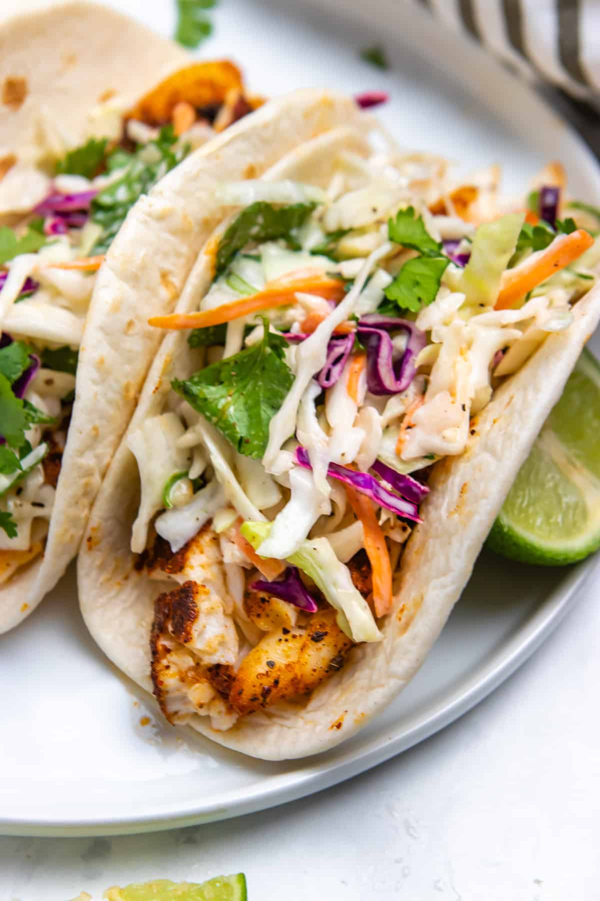 Air Fryer Fish Tacos with Cilantro Lime Slaw