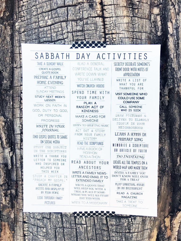 Sabbath Day Activities {Printable}