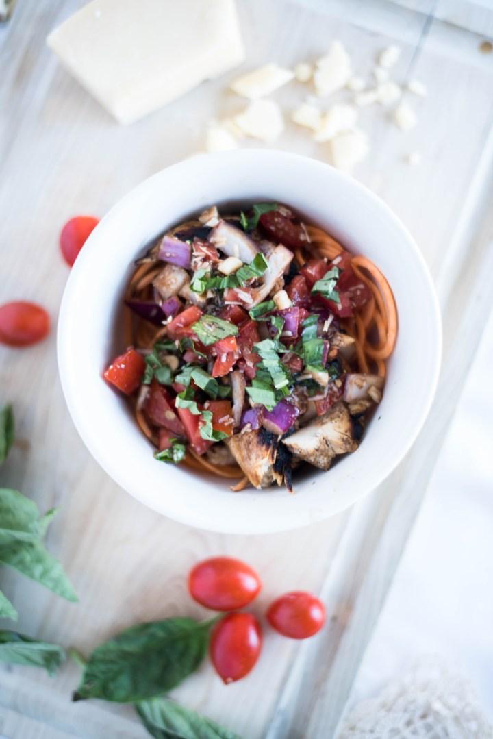 Bruschetta chicken zoodle bowl