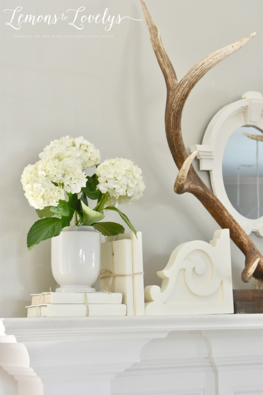 Joyful Spring Home Tour Spring Mantel www.lemonstolovelys.com