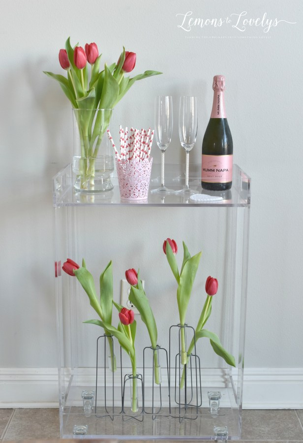Valentines Day Bar Cart. More pics on the blog. www.lemonstolovelys.com
