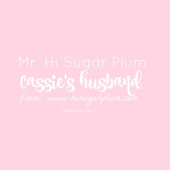 Mr Hi Sugarplum. For more on being married to a blogger go to www.lemonstolovelys.com
