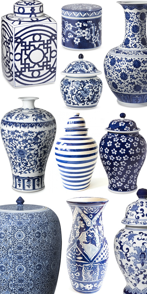 Ginger jars for Decorating with blue and white pottery
