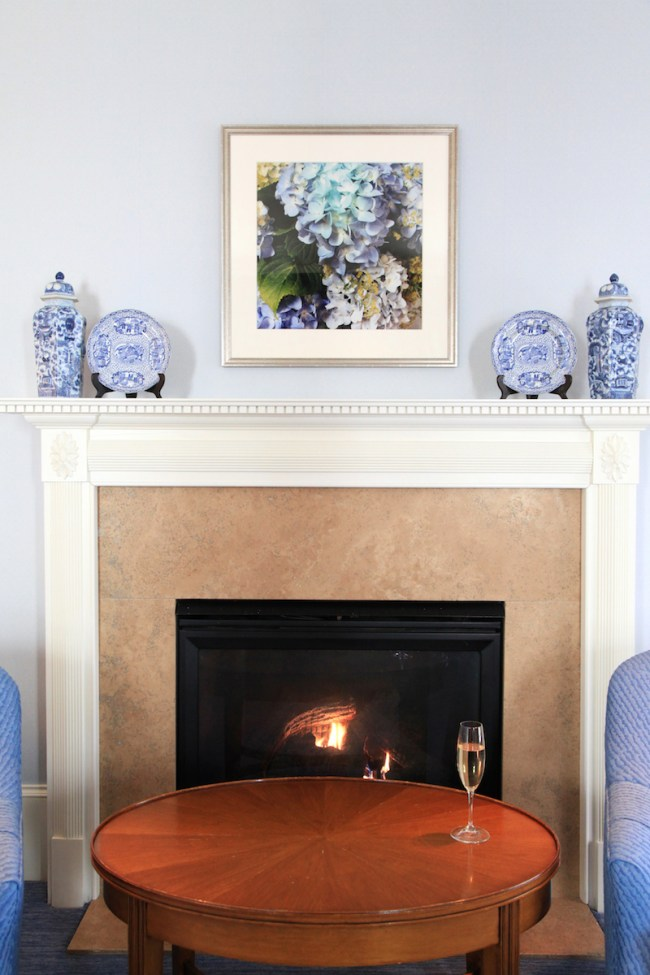 Blue and White Fireplace