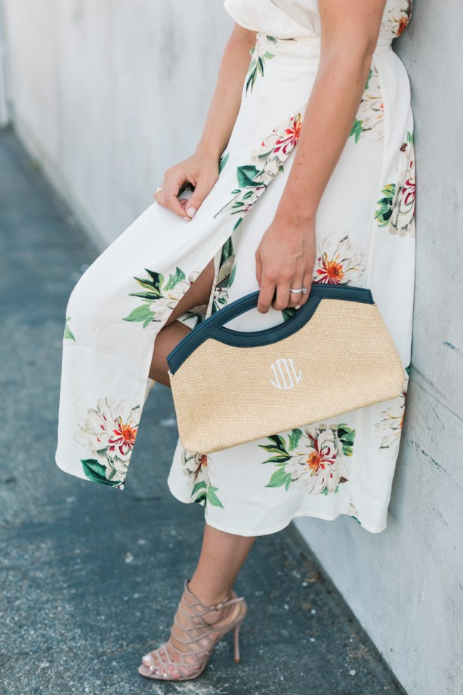 Floral Dress and Monogrammed Clutch