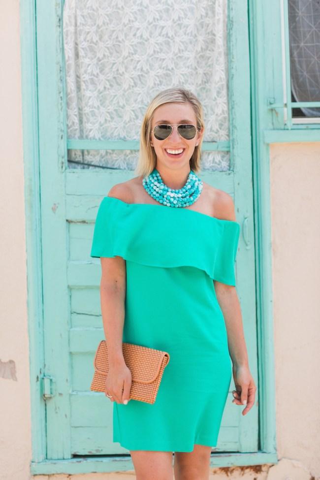 Off Shoulder Green Dress
