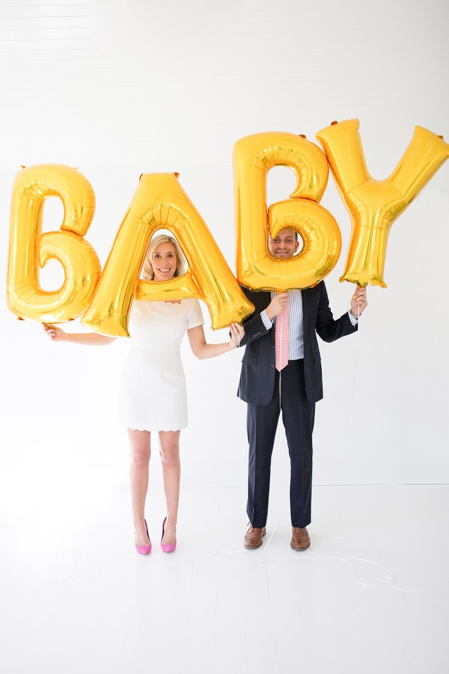 Baby Announcement Gold Balloons