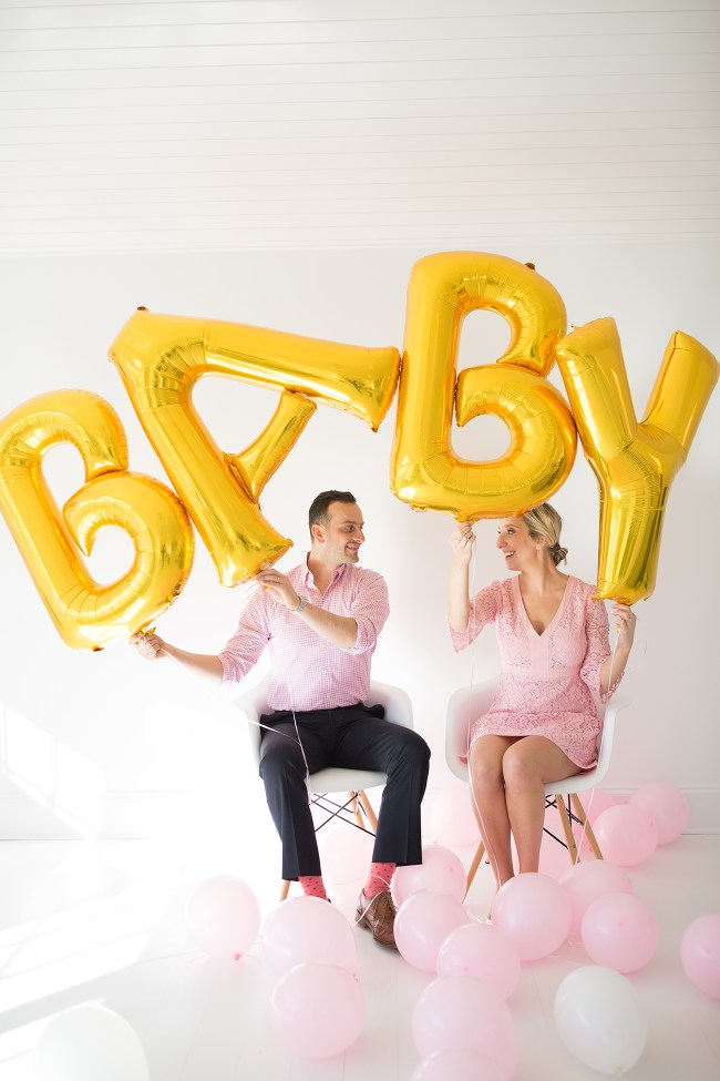Lemon Stripes Gender Reveal Balloons