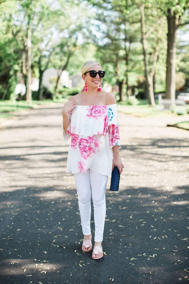 Off Shoulder Floral Maternity Shirt