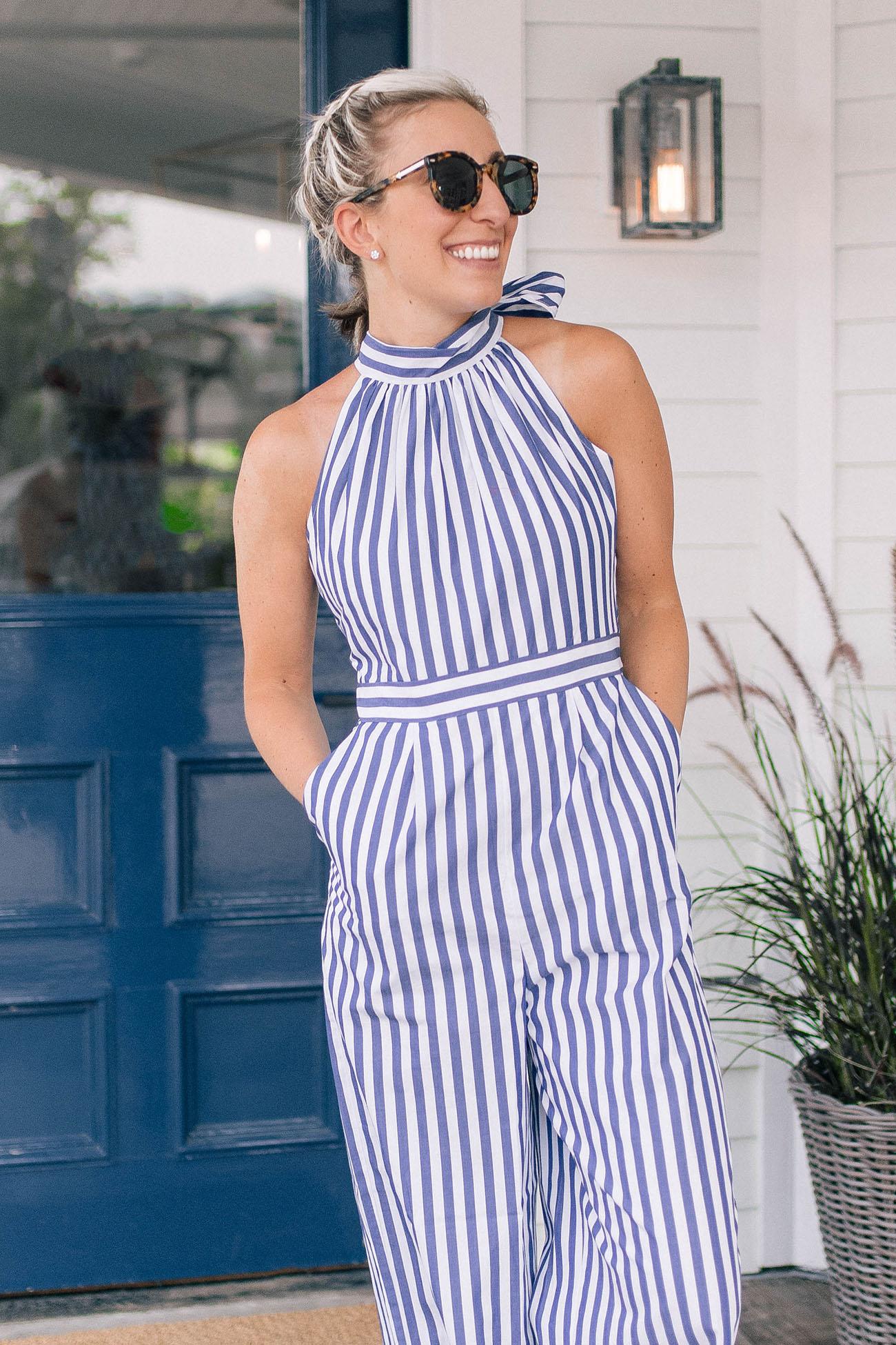 502ac98d165 Striped Halter Jumpsuit - Lemon Stripes