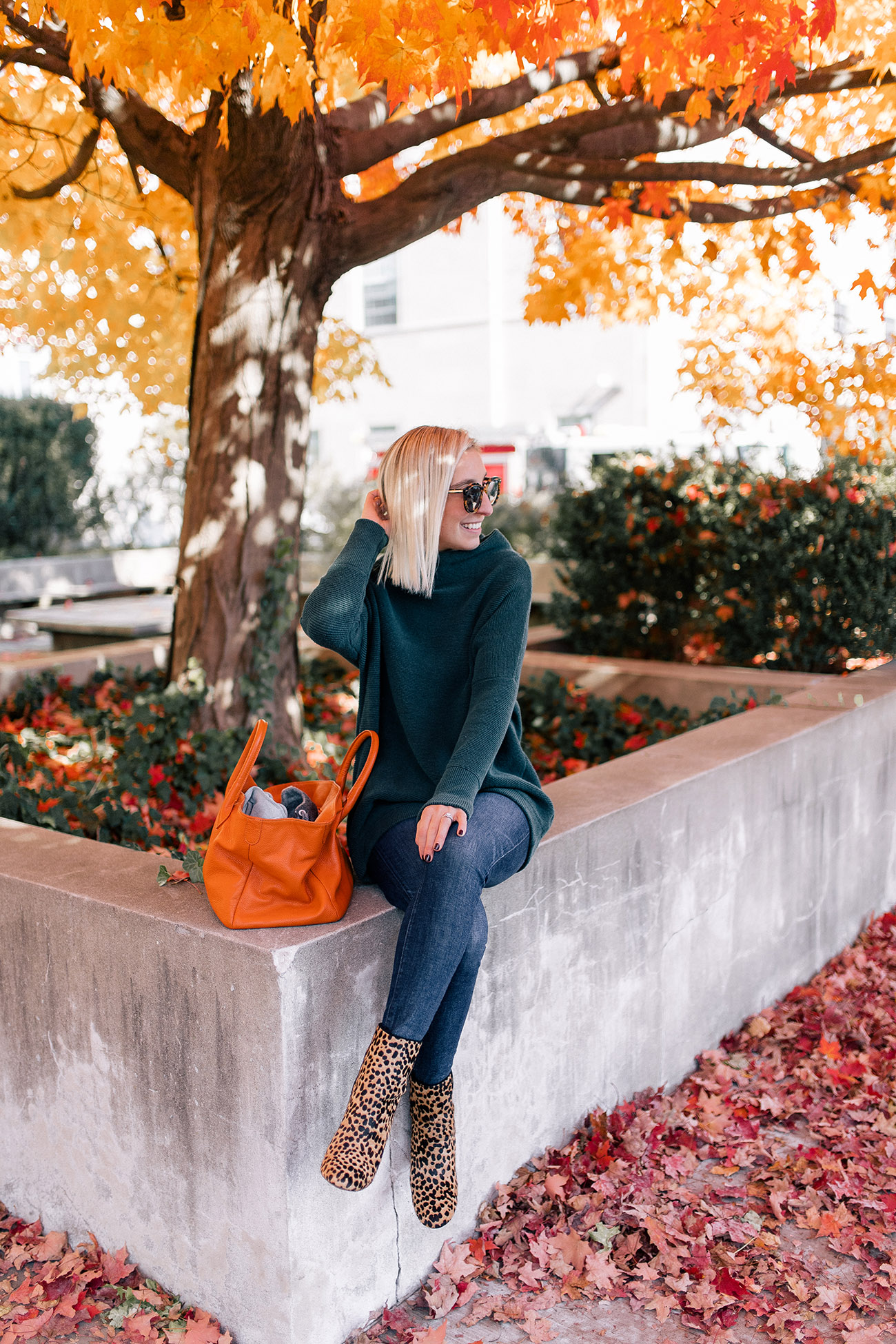 76405f24d7b4 Sweater   Jeans c o   Booties c o   Bag. Photos by Carter Fish. The post  Shopping My Closet  Outfit 4 appeared first ...