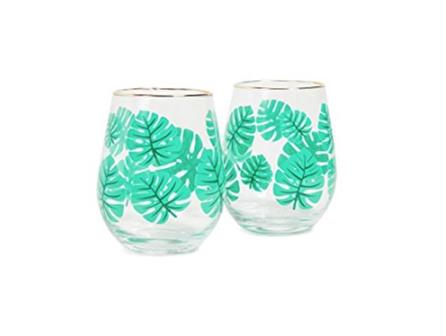 Palms Stemless Wine Glasses