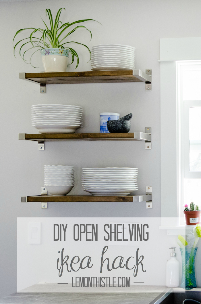 shelves for kitchen crosley alexandria island diy open shelving our lemon thistle ikea hack lemonthistle com