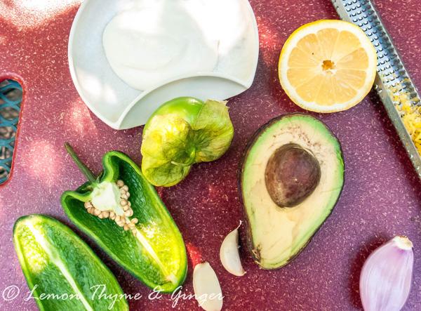 Grilled chicken salad with yogurt avocado dressing.