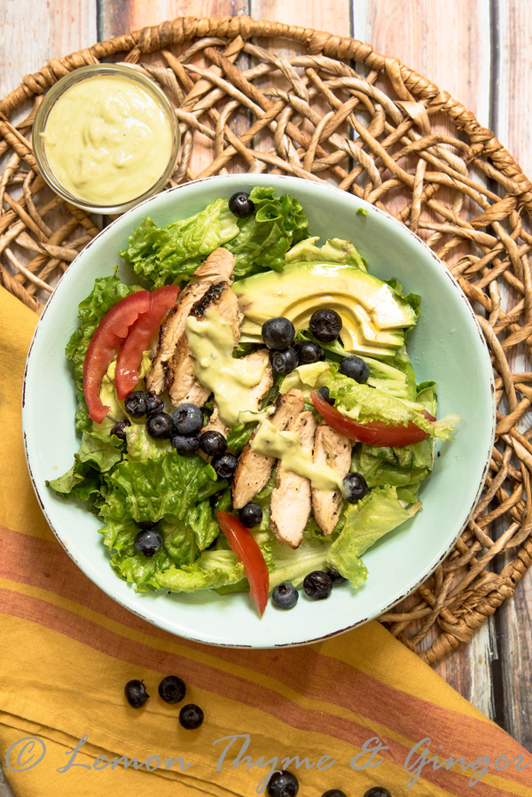 Grilled Chicken Salad with Yogurt Avocado Dressing recipe.
