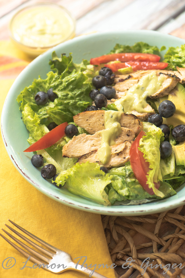 Grilled Chicken Salad with Avocado Yogurt Dressing recipe.