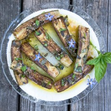 Basil marinated zucchini recipe.
