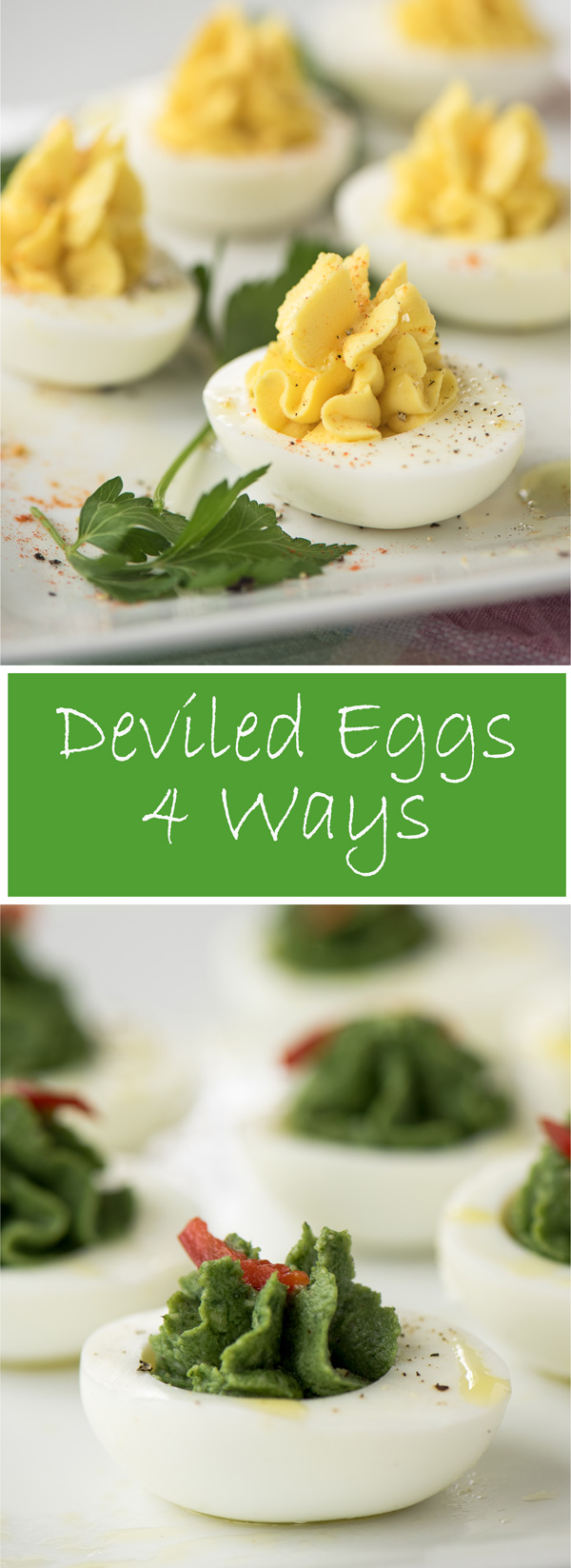Deviled Eggs, $ Ways. How to make perfect deviled eggs with recipes for 4 variations, Cornichon Deviled Eggs, Truffle Deviled Eggs, Spinach Deviled Eggs and Traditional Deviled Eggs.