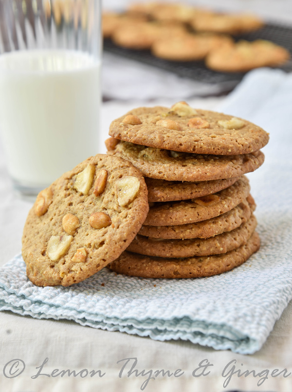 Honey Roasted Peanut Butter Cookies with Bananas and recipe.