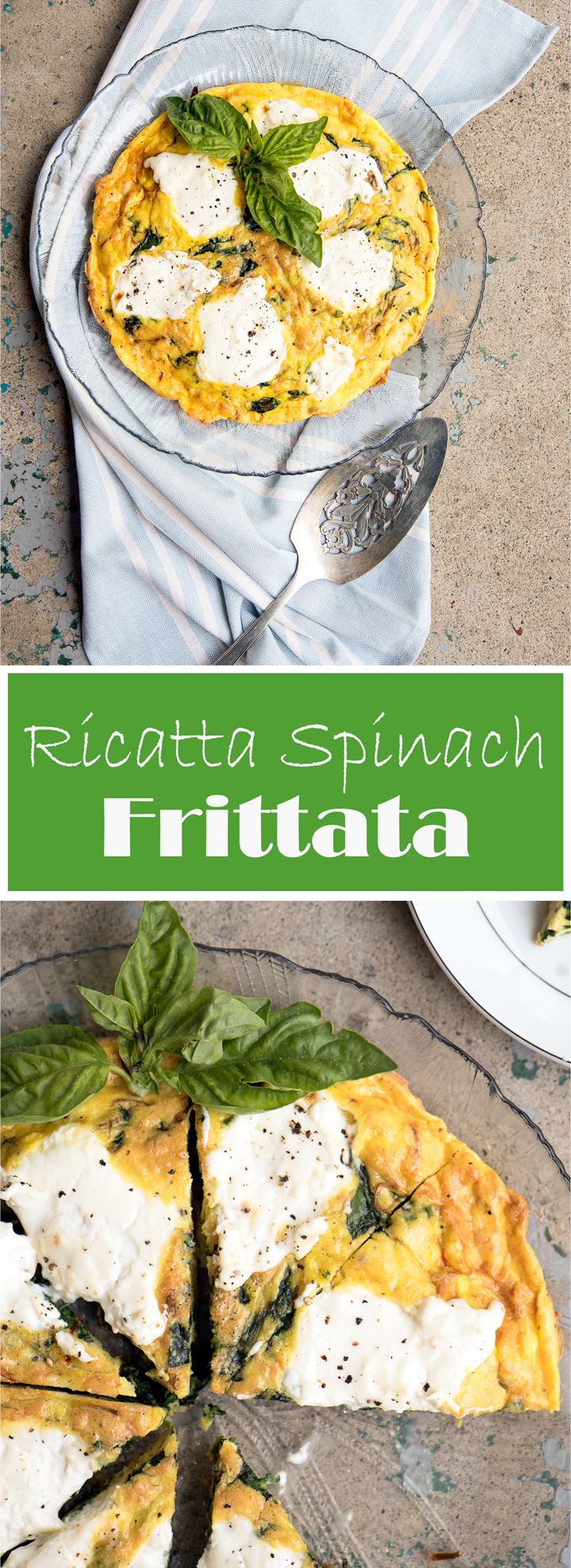 Ricotta Spinach Frittata. Spring spinach frittata recipe with leeks, saffron and ricotta. An elegant frittata recipe and a great healthy substitute for quiche. Perfect for any meal of the day.