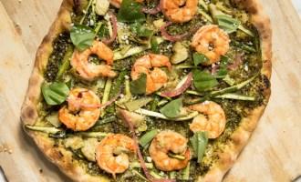Pesto Shrimp Pizza recipe.
