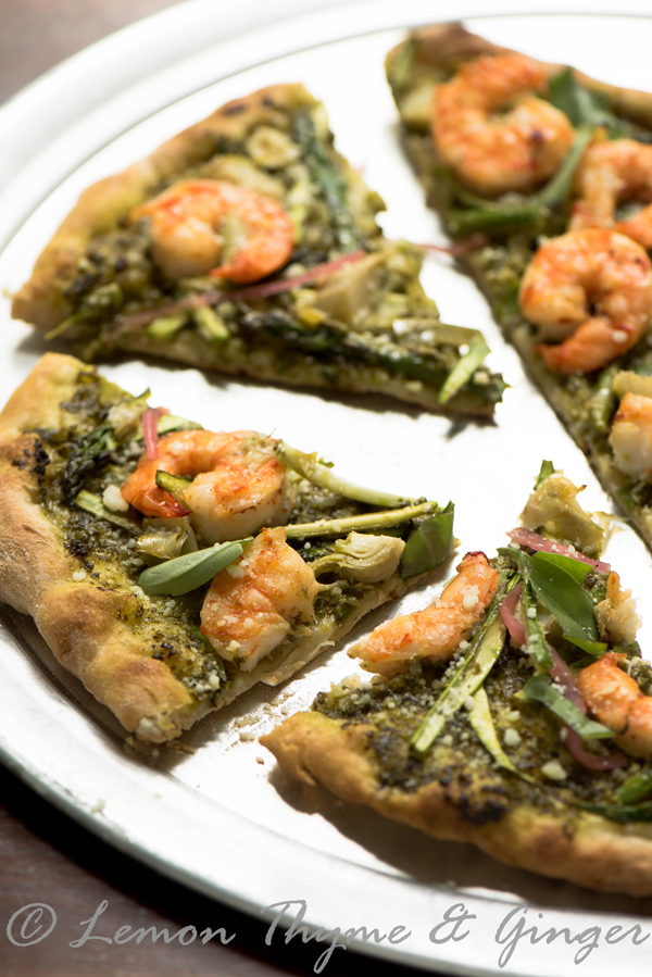 Pesto Shrimp Pizza, recipe.