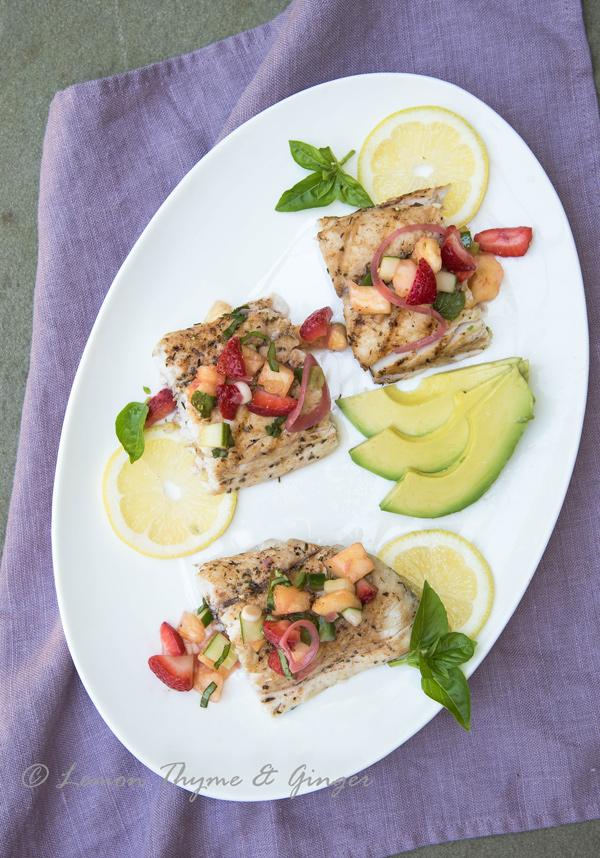 Grilled Mahi Mahi with strawberry pineapple salsa recipe.