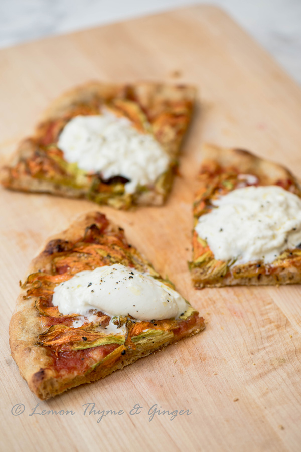 Birthday Squash Blossom Pizza with Burrata, recipe.